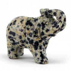 Éléphant en Jaspe dalmatien 17,6g pièce unique