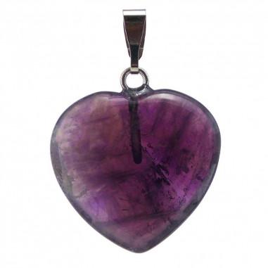 pendentif coeur d'améthyste