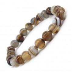 Bracelet en agate grise perles 8 mm