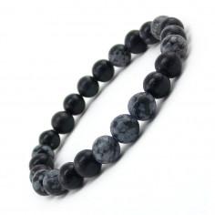Bracelet en Obsidienne neige perles 8 mm