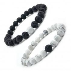 Bracelets pour couple Pierre de lave et Howlite 8 mm