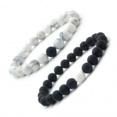 Bracelets pour couple Perles noires et Howlite 8 mm