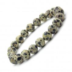 Bracelet en Jaspe Dalmatien perles 8 mm