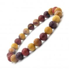 Bracelet en Jaspe mokaïte perles 8 mm