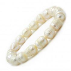 Bracelet en perles de culture blanches nacrées 8-10 mm