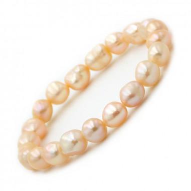 Bracelet en perles de culture Abricot nacrées 8-10 mm