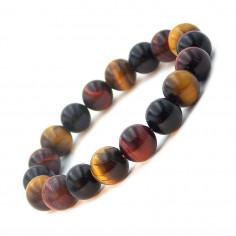 Bracelet mix Oeil de tigre, Oeil de taureau, Oeil céleste perles 10 mm