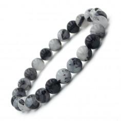 Bracelet en Quartz tourmaline Extra perles 8 mm