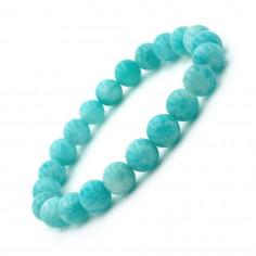 Bracelet en Amazonite argentée Extra perles 8 mm
