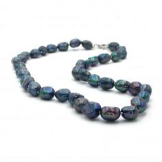 Collier en perles de culture noires nacrées 8 mm