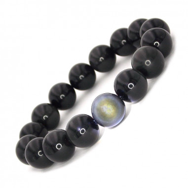 Bracelet en Obsidienne oeil céleste perles 12 mm