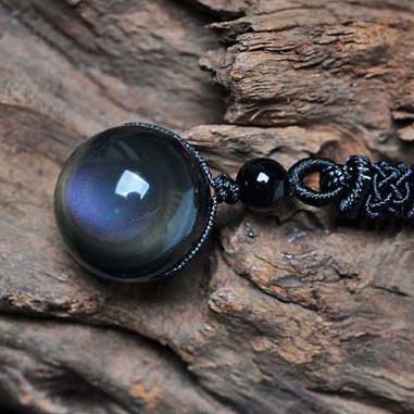 Pendentif en obsidienne oeil céleste 2 perles