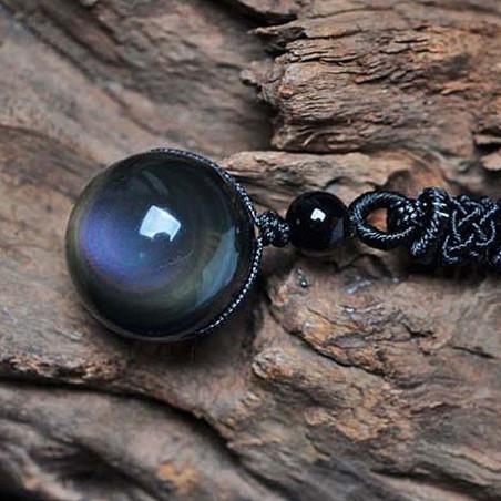 Pendentif en obsidienne oeil céleste