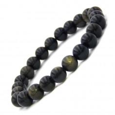 Bracelet en Obsidienne dorée perles 8 mm