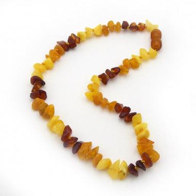 Collier bébé en perles d'Ambre véritable multicolore éclats polis