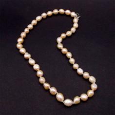 Collier en perles de culture abricot nacrées 8 mm