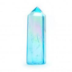 Aqua aura bleue pointe facettée (traitement or pur) 4 à 5 cm