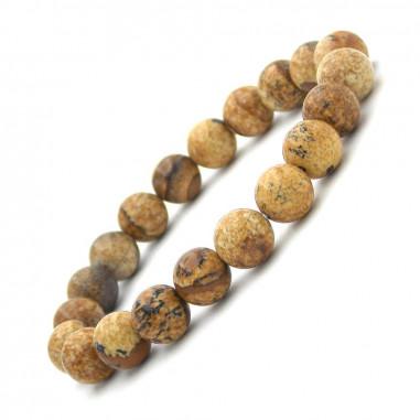 Bracelet en Jaspe paysage perles 8 mm