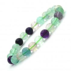 Bracelet en Fluorine multicolore perles 8 mm