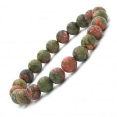 Bracelet en Unakite perles 8 mm