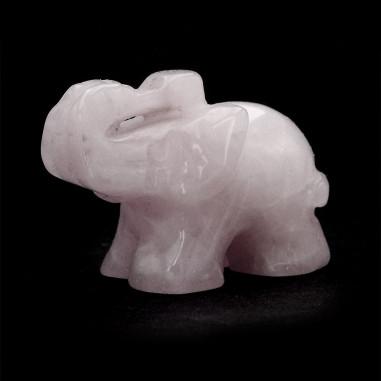 Éléphant en Quartz rose 4 cm