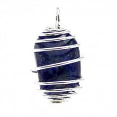 Pendentif Lapis-lazuli cage argentée