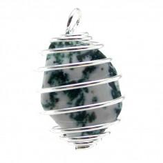 Pendentif Agate arbre cage argentée
