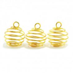 3 Cages pendentif pour pierre taille M dorée
